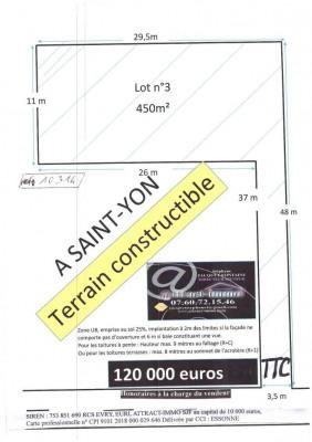 Terrain constructible 450m², en lot arrière