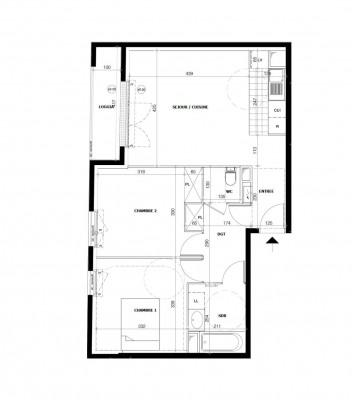 Appartement 3 pièces de 39m² + loggia + parking