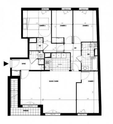 Appartement 5 pièces de 105m² orienté sud + solarium + terrasse