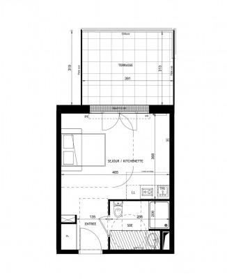 Appartement studio 1 pièce de 26m² + terrasse