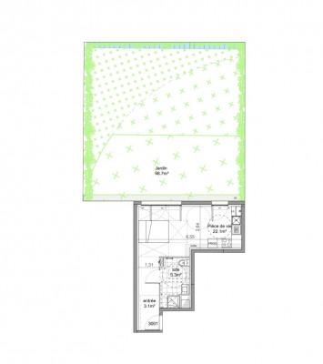 Appartement studio 1 pièce de 30,5m² + jardin (98m²)+ parking
