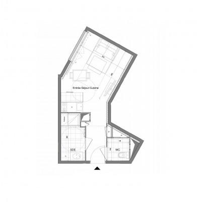 Appartement studio 1 pièce de 26 m²