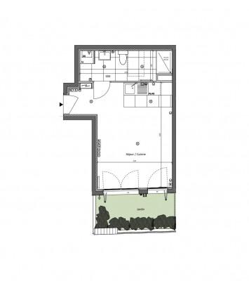 Appartement studio 1 pièce de 30m² + jardin