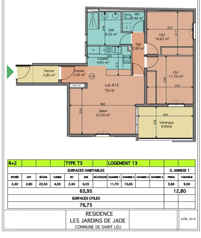 Producto de inversión  apartamento Saint leu 353050€ - Fotografía 3