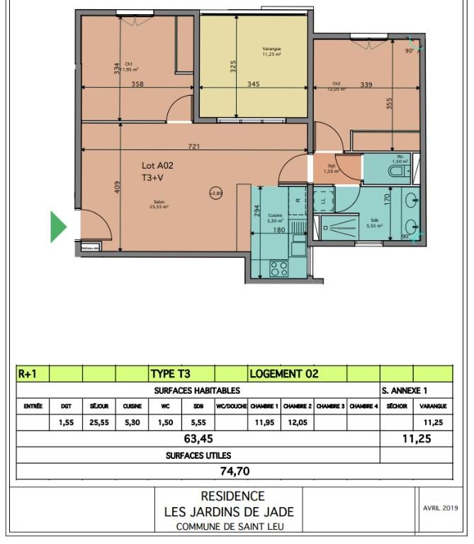 Producto de inversión  apartamento Saint leu 342930€ - Fotografía 2