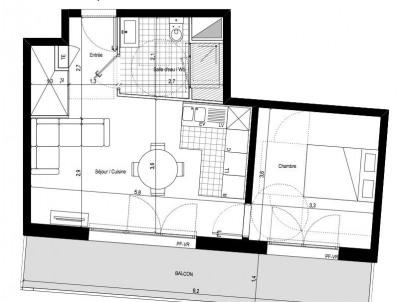 Appartement 2 pièces avec balcon et parking