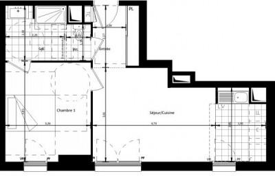 Appartement de 2 pièces de 43 m², cave et parking