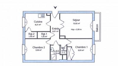 Appartement Bourgoin Jallieu 3 pièce(s) 55.99 m2