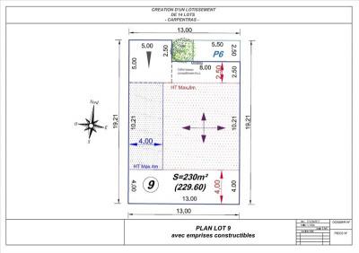 Terrain a bâtir carpentras - 230 m² - lot 9
