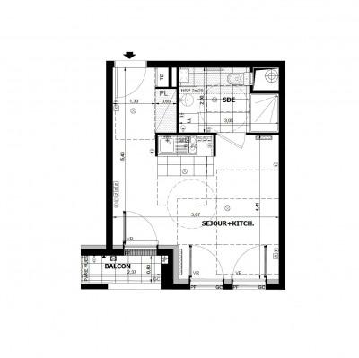 Appartement studio 1 de 29m² + balcon