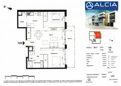 T3 talence - 3 pièce (s) - 61.8 m²