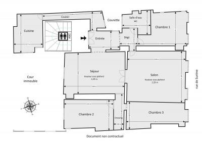 Appartement 5 pièces 116 m² 4ème ét. ascenseur. Grande cave