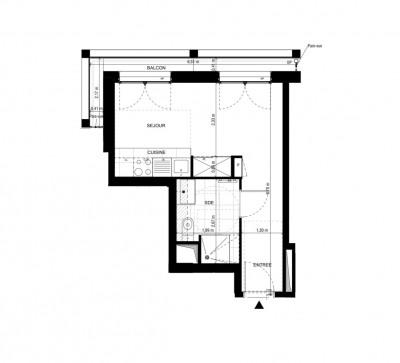 Appartement studio 1 pièce de 25,16m² + balcon