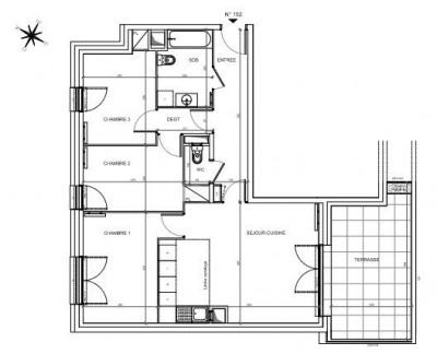 Appt 4 pièces 76,56m² + balcon 16,25m² - 92600 Asnières S