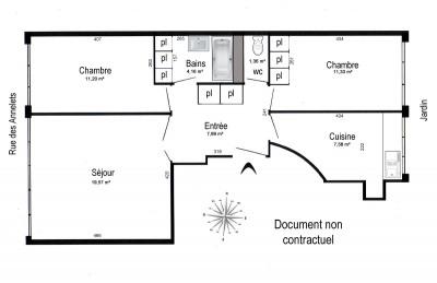 Appartement 3 pièces - 63,23 m². Parking et cave. 1er étage