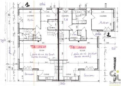 Idéal 2 familles, 2 appartements de type T4 en rez-de-jardin dan