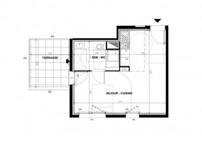 Appartement studio 1 pièce de 31m² + terrasse