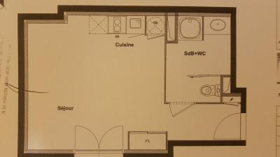 Studio 27m², vendu loué - 69008