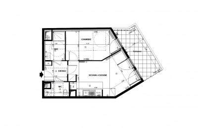 Appartement 2 pièces de 46m² + terrasse + parking