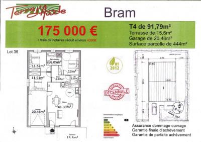 BRAM-20 Kms de Carcassonne, vente en futur achat d'achèvement