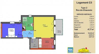 Appartement neuf 2 pièces en rez-de-chaussée avec balcon