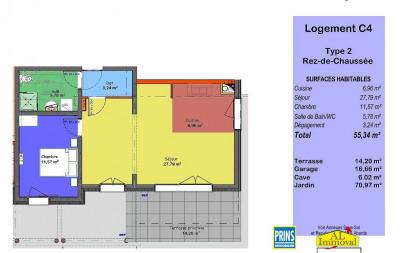 Appartement neuf 2 pièces en rez-de-jardin avec garage