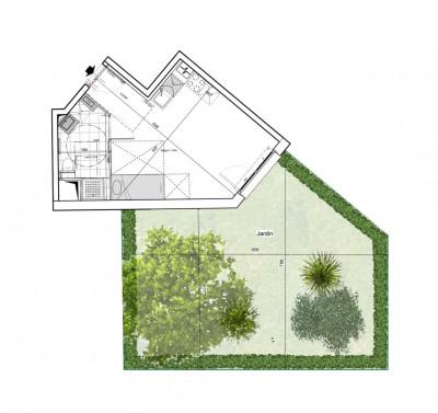 Appartement studio 1 pièce de 28 m² + jardin + parking