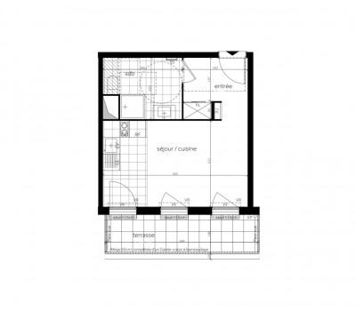 Appartement studio 1 pièce de 28 m² + terrasse