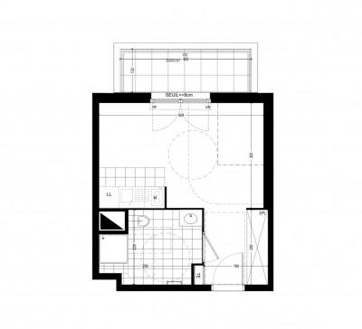 Appartement studio 1 pièce de 27 m²