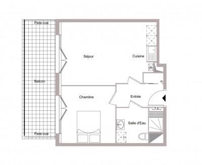 Appartement 2 pièce de 41 m² + balcon + parking