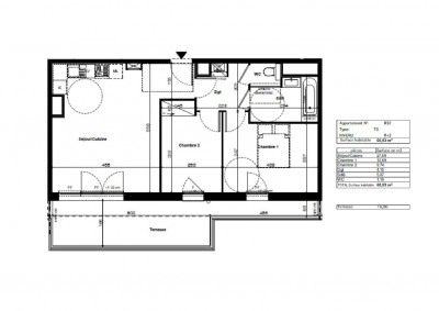 T3 neuf avec grande terrasse- Dernier étage