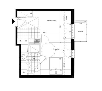 Appartement 2 pièces de 36 m² + balcon + parking