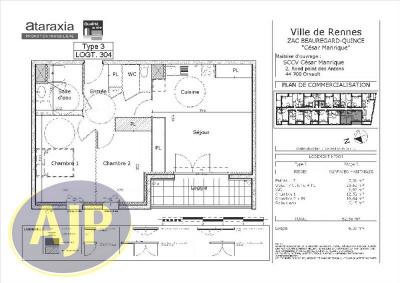 T3 rennes - quartier beauregard - 62.56 m²