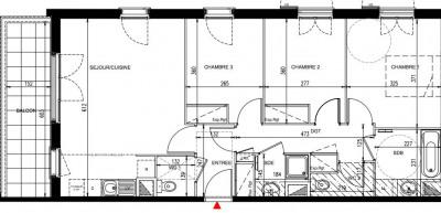 Appartement de 4 pièces de 77 m² avec bal