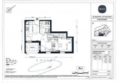 Appartement T3 duplex avec terrasse et parking