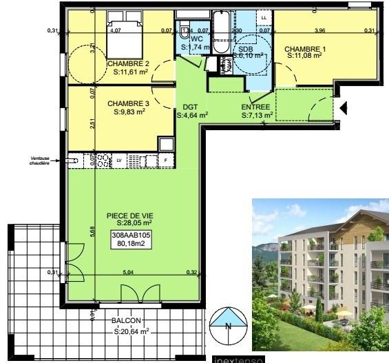 Sale apartment Saint-pierre-en-faucigny 299490€ - Picture 3