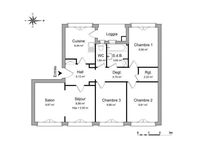 Decines 4 pièces 73.4 m²