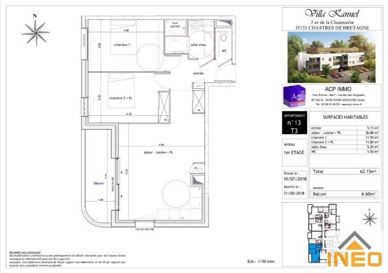 Vente appartement Chartres de bretagne 202730€ - Photo 2