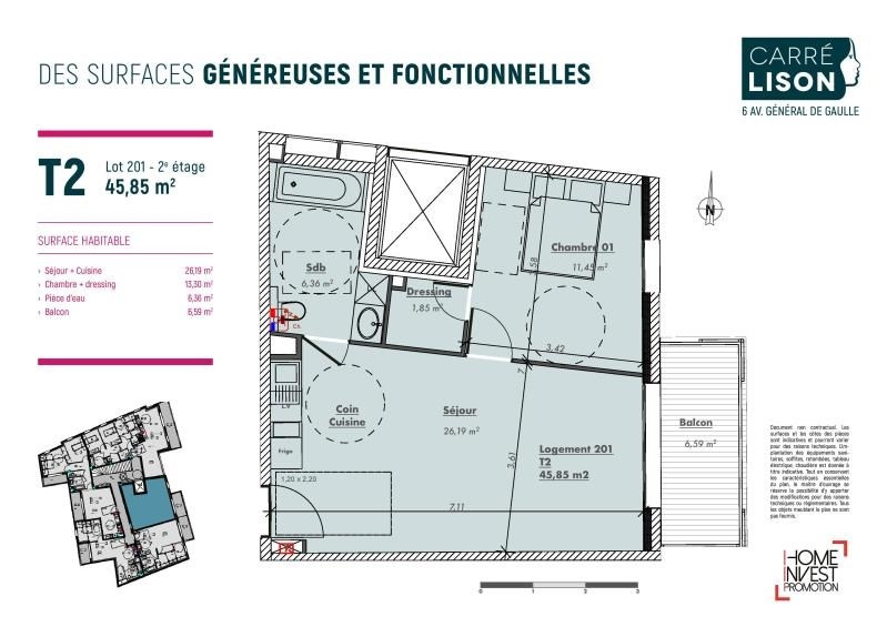 Vente appartement Charbonnieres les bains 245000€ - Photo 2