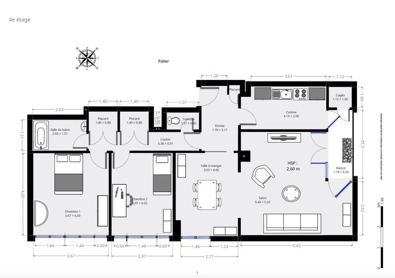 Vente appartement Paris 15ème 966000€ - Photo 2