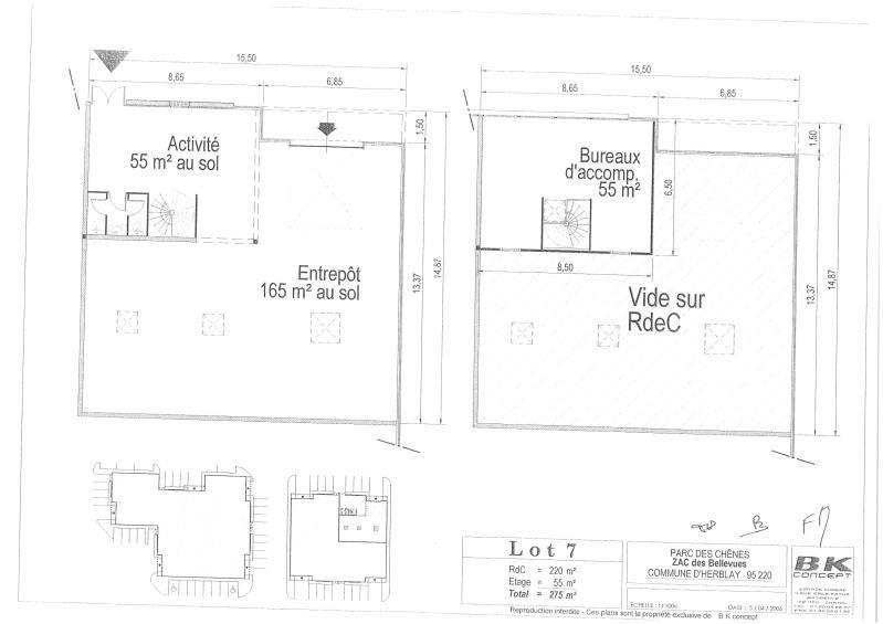 Rental empty room/storage Herblay 1910€ HT/HC - Picture 8