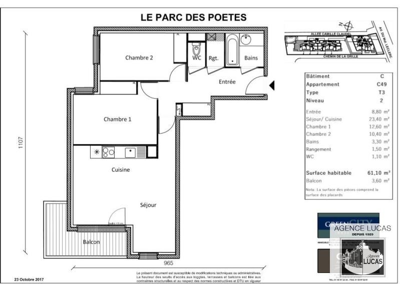 Rental apartment Neuilly sur marne 905€ CC - Picture 2