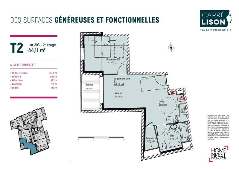 Vente appartement Charbonnieres les bains 260000€ - Photo 2