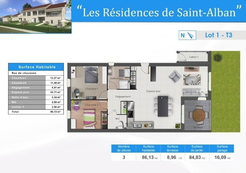 Sale apartment St alban de roche 268000€ - Picture 2