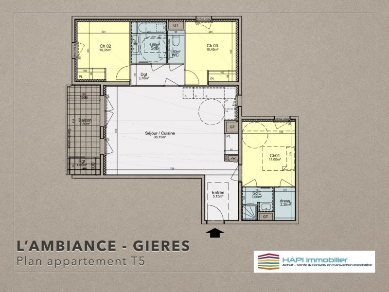 Verkoop  appartement Grenoble 338500€ - Foto 3