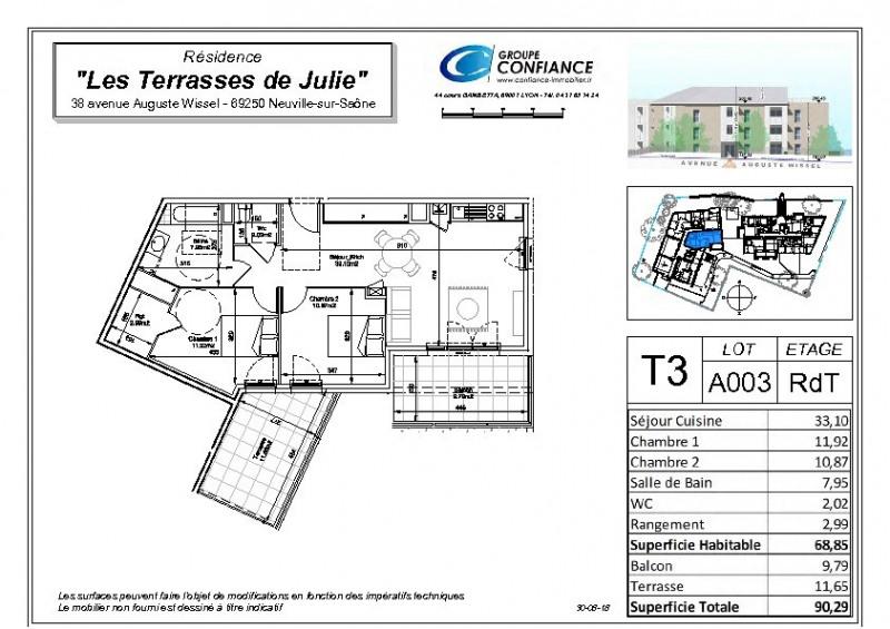 Vente appartement Neuville sur saone 273000€ - Photo 2