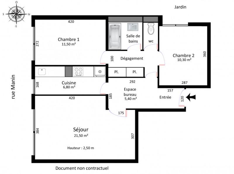 Vente appartement Paris 19ème 500000€ - Photo 2