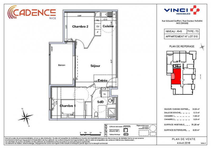 Vente appartement Nice 337000€ - Photo 2