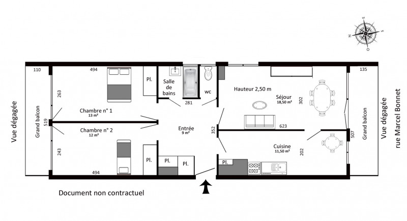 Rental apartment Cachan 1100€ CC - Picture 2