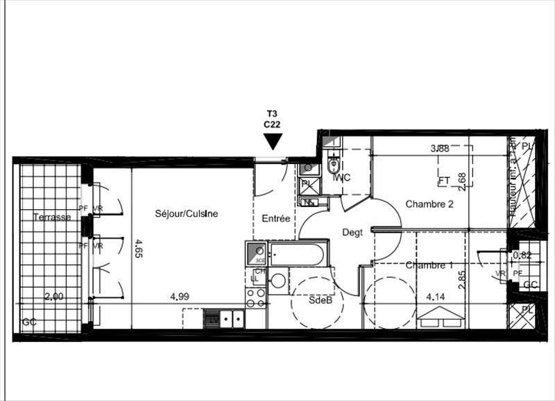 Vente appartement Tournefeuille 242000€ - Photo 2